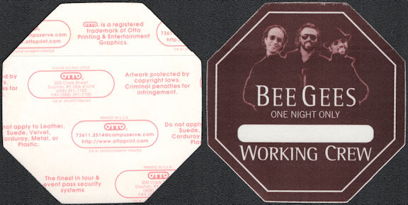 ##MUSICBP0840 - Rare The Bee Gees Working Crew Cloth Backstage Pass from the 1999 One Night Ony Tour