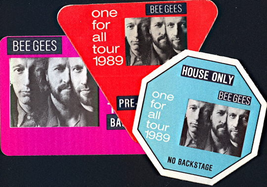 ##MUSICBP0112 - Bee Gees OTTO cloth Backstage Passes from the 1989 One for All Tour - As low as $3 each