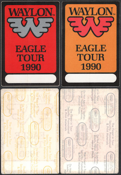 ##MUSICBP0837 - Pair of Uncommon Waylon Jennings OTTO Cloth Backstage Passes from the 1990 Eagle Tour