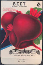 #CE052 - Brilliantly Colored  Stone Litho Lone Star Seed Company Crosby's Egyptian Beet 5¢ Seed Pack - As Low As 50¢ each