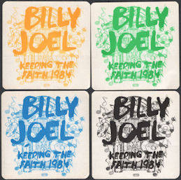 ##MUSICBP0044  - Group of 4 Different Colored 1984 BIlly Joel Keeping the Faith Tour OTTO Cloth Backstage Passes