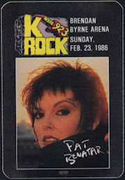 ##MUSICBP0334 - Pat Benatar OTTO Cloth Backstage Radio Pass from the Feb 23, 1986 Concert at Brendan Byrne Arena