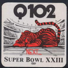#BA709 - Cincinnati Bengals 1989 Super Bowl Cloth Radio Station Sticker - As low as $2 Each