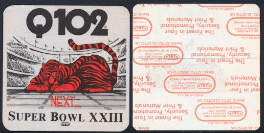 #BA709 - Cincinnati Bengals 1989 Super Bowl Cloth Radio Station Sticker - As low as $2 Each