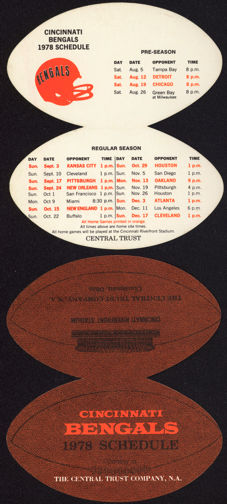 #BA085 - Diecut Football Shaped Pocket Schedule for the 1978/79 Cincinnati Bengals