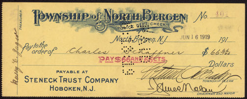 #ZZZ079 - 1919/20 Police Department Check from North Bergen, New Jersey