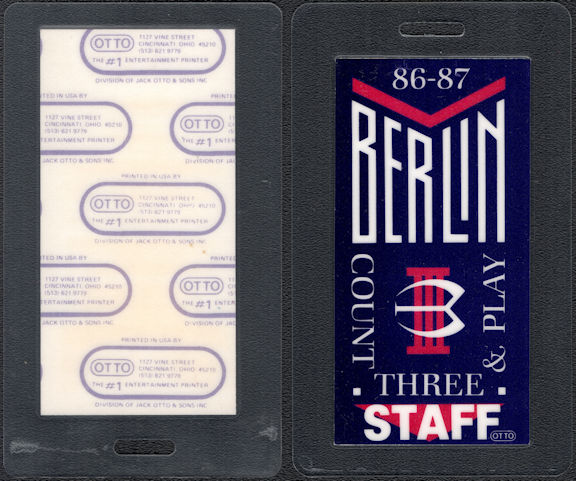 "##MUSICBP0601 - 1986 Berlin Laminated Backstage Pass from the ""Count Three and Play"" Tour"