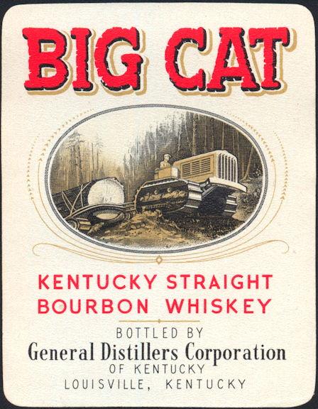 #ZLW158 - Big Cat Kentucky Whiskey Bottle Label - Caterpillar Tractor