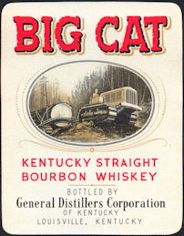 #ZLW158 - Big Cat Kentucky Whiskey Bottle Label - Caterpillar Tractor