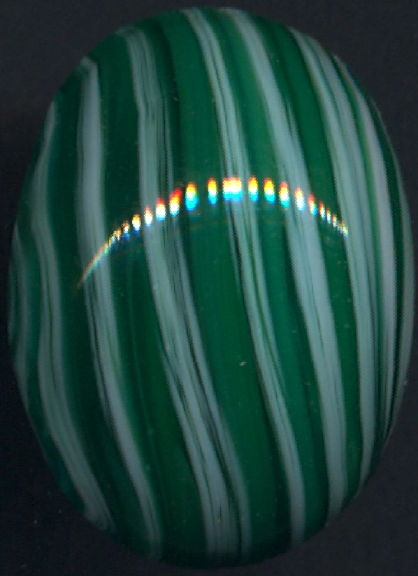 #BEADS0821 - Huge 25mm Green and White Swirled Glass Cabochon - Cherry Brand