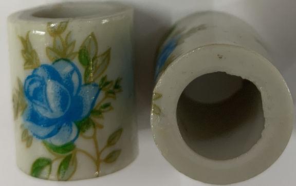 #BEADS0158 - Large Blue Rose Ceramic Japanese Big Hole Bead
