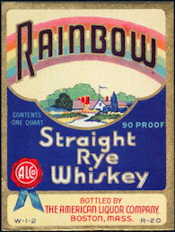 #ZLW122 -  Rainbow Rye Whiskey Label - Large One quart Size Label