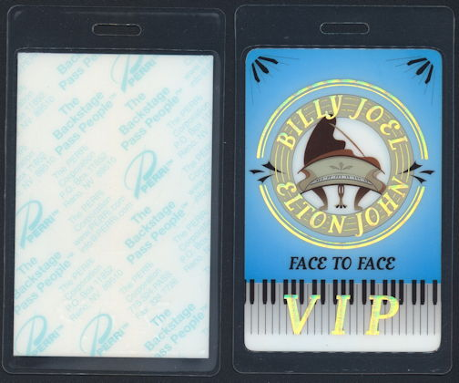 ##MUSICBP0285 - Billy Joel and Elton John PERRi Laminated Backstage Pass from the 2002 Face to Face Tour