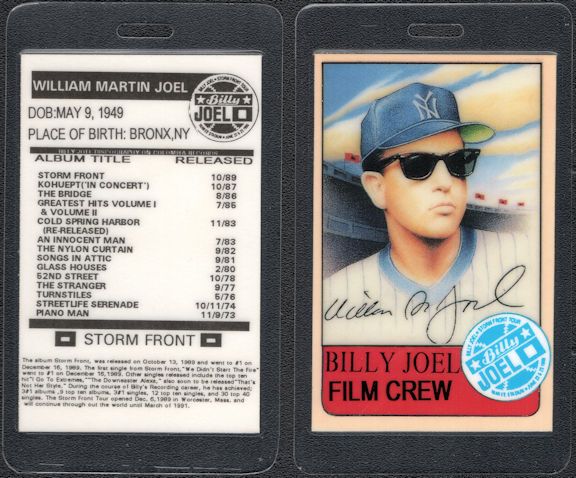 ##MUSICBP0602  - 1989-91 Billy Joel Laminated Backstage Pass from the Storm Front Tour