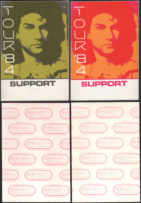 ##MUSICBP0078 - Group of 2 Different Colored Billy Squier Cloth OTTO Support Backstage Pass from the 1984 Signs of Life Tour - Warhol