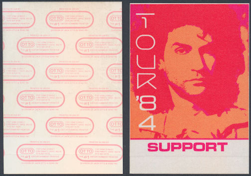 ##MUSICBP0078 - Billy Squier Cloth OTTO Backstage Pass from the 1984 Signs of Life Tour - Warhol