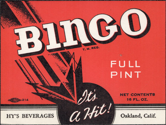 #ZLS249 - Bingo Soda Bottle Label - Oakland, CA