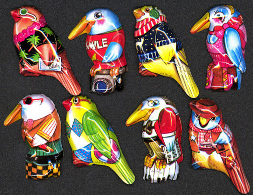 #TY563- Groups of 8 DIfferent Tin Lithographed Japanese Bird Pins