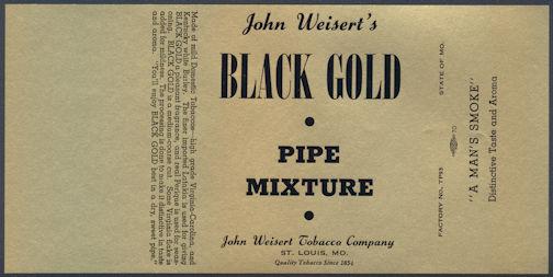 #ZLT033 - John Weisert's Black Gold Smoking Mixture Tobacco Box Label - As low as 35¢ each