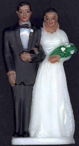 #MS227 - Hand Painted Black Bride and Groom Cake Topper