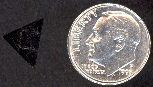 #BEADS0330 - Jet Black Geometric Art Glass Triangular Shaped Cabochon