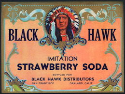#ZLS229 - Black Hawk Strawberry Soda Label - Indian Chief Oakland San Francisco