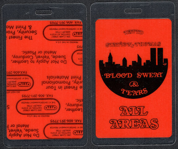##MUSICBP0541  - 1984 Blood Sweat & Tears OTTO Laminated Backstage Pass from the 1984 Tour