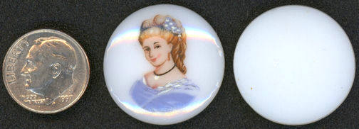 #BEADS0435 - Large 25mm Blue Lady Glass Cameo