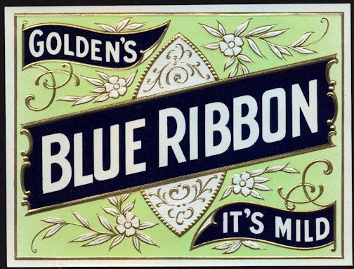 #ZLSC090 - Golden's Blue Ribbon Cigar Box Label