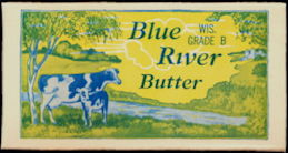 #DA099  - Waxed Blue River Butter Box with Cows - 1927