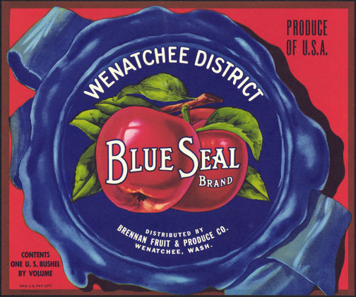 #ZLC286 - Wenatchee Blue Seal Apple Crate Label
