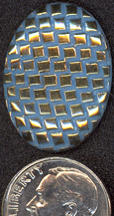 #BEADS0341 - Large Blue Basketweave Pattern Cabochon with Gold Highlights