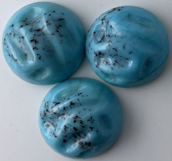 #BEADS0874 - Group of Three 18mm Dimpled and Dotted Turquoise Glass Cabochons