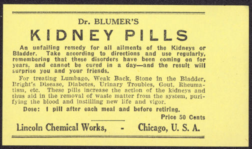 #ZBOT132 - Blumer's Kidney Pill Remedy Label