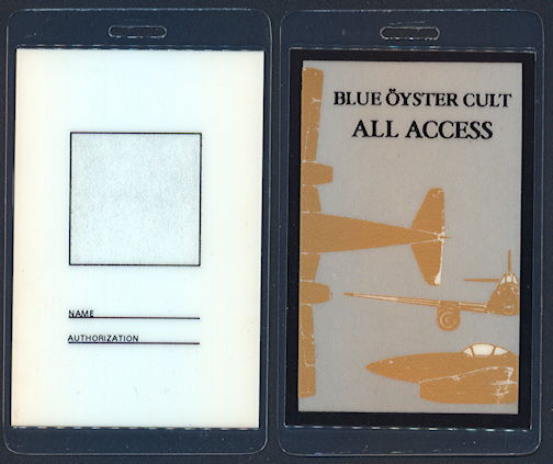 ##MUSICBP0290 - Uncommon Blue Oyster Cult All Access Laminated OTTO Backstage Pass from the 1983 Revolution by Night Tour