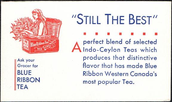 #ZZZ179 - Blue Ribbon Tea Advertising Ink Blotter