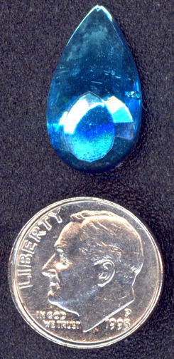 #BEADS0345 - Vintage Large Faceted Teardrop shaped Transparent Blue Cabochon