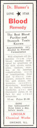 #ZBOT228 - Group of 4 Dr. Blumer's Lone Star Blood Remedy Bottle Labels