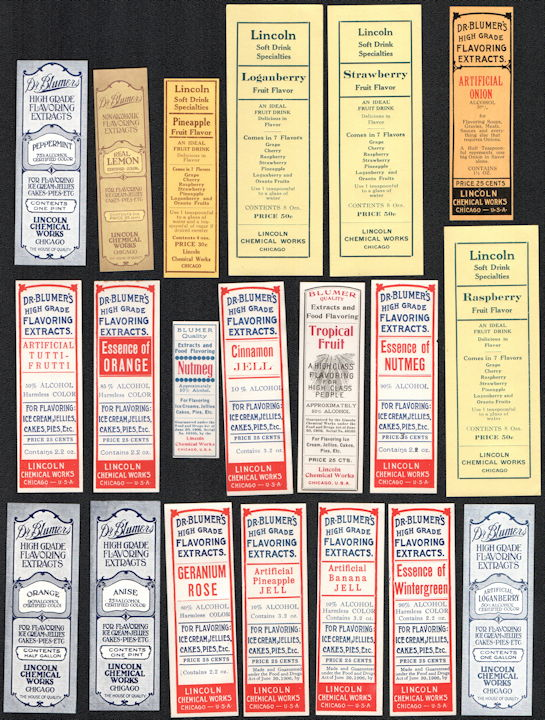 #ZBOT427.5 - Group of 20 Different Blumers Flavoring Extract Bottle Labels