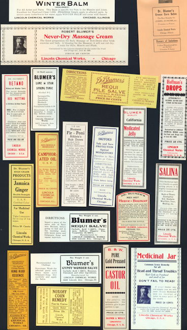 #ZBOT404 - Set of 20 Different Blumers Medical Bottle Labels - All Sorts of Really Nice Ones