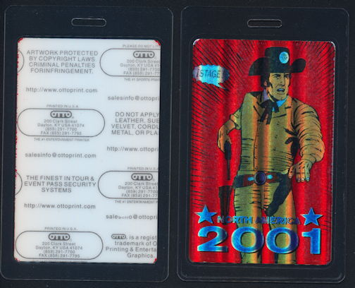 ##MUSICBP0304 - Scarce Bob Dylan OTTO Laminated Holographic Foil OTTO Backstage Pass from 2001 North American Tour