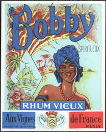 #ZLW180 - Scarce Bobby French Rum Label - Great Image - Black Interest