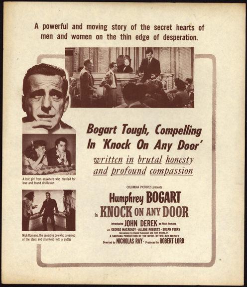 "#CH326-16  - Humphrey Bogart in ""Knock on Any Door"" Movie Poster Broadside"