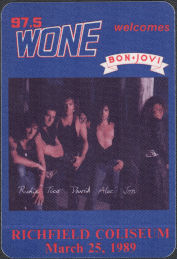 ##MUSICBP0908 - Bon Jovi OTTO Cloth Backstage Radio Pass from the 1989 Concert at Richfield Coliseum