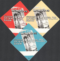 ##MUSICBP0149  - Group of 3 DIfferent Colored Bon Jovi OTTO Cloth After Show Backstage Passes from the 1995 Here, There, and Everywhere Tour