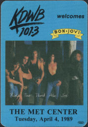 ##MUSICBP0181  - Bon Jovi Radio Promo OTTO Cloth Backstage Pass from the 1989 Tour at the Met Center - KDWB 101.3