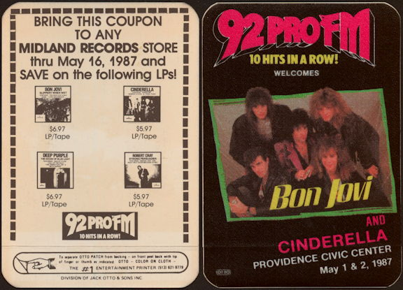 ##MUSICBP0450 - Bon Jovi and Cinderella OTTO Radio Promo Cloth Backstage Pass from the 1987 Slippery When Wet Tour - Radio 92 PRO FM
