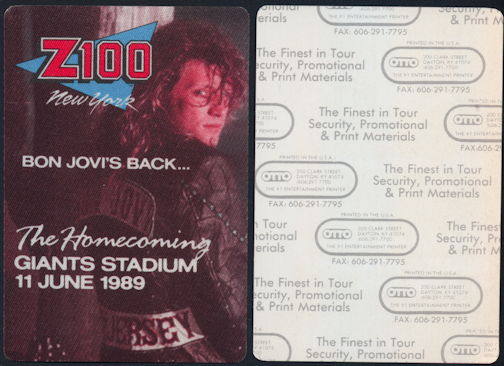 "##MUSICBP0269  - Bon Jovi Z100 Radio Station Cloth Pass from the 1989 ""The HomeComing"" Concert at  Giants Stadium on June 11, 1989"