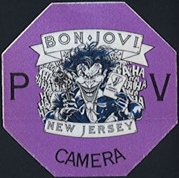 ##MUSICBP0384 - Bon Jovi OTTO Cloth Backstage Pass from the 1988 New Jersey Syndicate Tour - Joker (Batman) Pictured