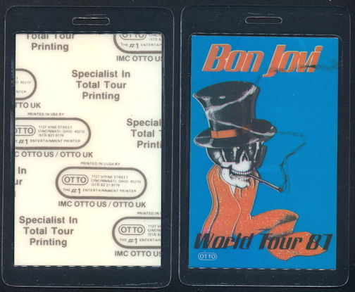 ##MUSICBP0349  - 1987 Bon Jovi Laminated Backstage Pass from the Slippery When Wet Tour